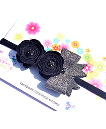 Little Tresses Double Rose With Bow On Soft Stretchable Headband - Black