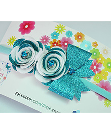 Little Tresses Double Rose With Bow On Soft Stretchable Headband - Sea Green & White