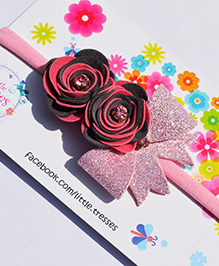Little Tresses Double Rose With Bow On Soft Stretchable Headband - Pink & Grey