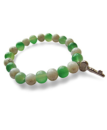 Milonee Translucent Beads Bracelet With Key Charm - White & Green