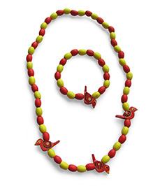 Milonee Beads And Birds Neckpiece And Bracelet Set - Red & Yellow
