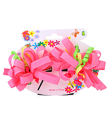 Bowtastic Loopy Flower Clip Set Of 2 - Pink