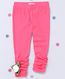 CrayonFlakes Bottom Gather Leggings With A Flower - Pink