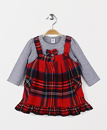 ToffyHouse Frock With Inner Top Check Print - Red Grey