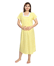 Eazy Half Sleeves Maternity Nursing Nighty Heart Print - Yellow