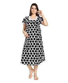 Eazy Short Sleeves Polka Dot Maternity Nursing Nighty - Black White