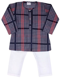 Infancy - Full Sleeves Checks Kurta Suit