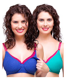 Inner Sense Antimicrobial Maternity Nursing Bra Pack Of 2 - Blue Green