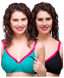 Inner Sense Antimicrobial Maternity Nursing Bra Pack Of 2 - Green Black