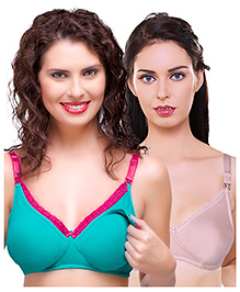 Inner Sense Antimicrobial Maternity Nursing Bra Pack Of 2 - Green & Light Pink