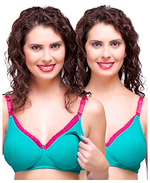 Inner Sense Antimicrobial Maternity Nursing Bra Pack Of 2 - Green