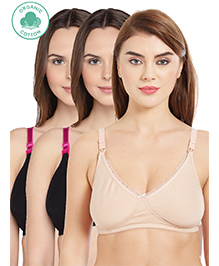 Inner Sense Antimicrobial Maternity Nursing Bra Pack Of 3 - Black Pink