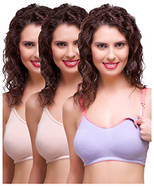 Inner Sense Antimicrobial Maternity Nursing Bras Pack Of 3 - Skin Purple