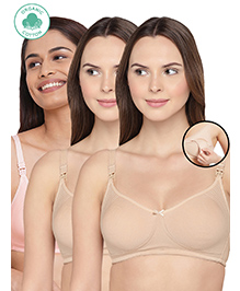 Inner Sense Antimicrobial Maternity Nursing Bras Pack Of 3 - Skin Pink - 1642469