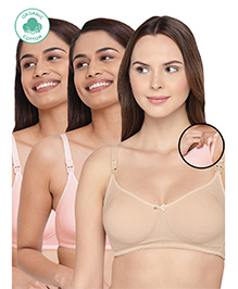 Inner Sense Antimicrobial Maternity Nursing Bras Pack Of 3 - Skin Pink