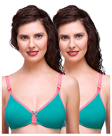 Inner Sense Antimicrobial Maternity Nursing Bras Pack Of 2 - Green