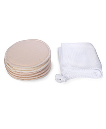 Mee Mee Washable Cotton Maternity Breast Pads Pack Of 6 - Cream