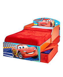 Disney Cars Toddler Bed With Underbed Storage - Red Blue