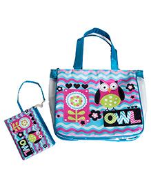 Li'll Pumpkins Owl 2Pc Set Bag - Aqua