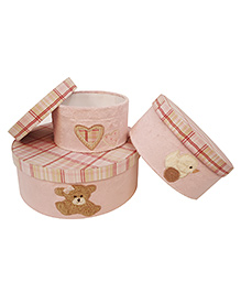 Abracadabra Round Storage Boxes Set Of 3 Heart Patch - Pink