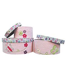 Abracadabra Round Storage Boxes Set Of 3 Flower Patch - Pink