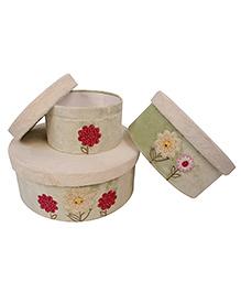 Abracadabra Round Storage Boxes Set Of 3 Flower Patch - Green