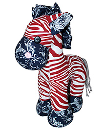 Abracadabra Zebra Soft Toy Red Blue - 21 Cm