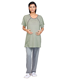 Kriti Half Sleeves Maternity & Nursing Top With Pajama Night Wear - Green Black