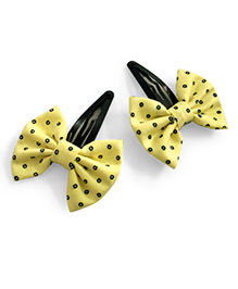 Knotty Ribbons Bow Hair Clip - Yellow