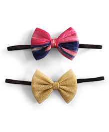 Knotty Ribbons Set Of Two Cute Bow Headbands - Pink & Golden