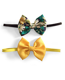 Knotty Ribbons Set Of Two Bow Headband - Floral & Yellow