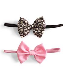 Knotty Ribbons Set Of Two Bow Headband - Black & Light Pink