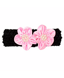 Miss Diva Pearl Beaded Graceful Double Flower Soft Headband - Pink