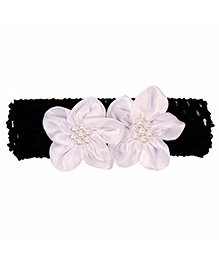 Miss Diva Pearl Beaded Graceful Double Flower Soft Headband - White