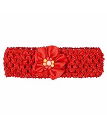 Miss Diva Adorable Ribbon Flower Soft Headband - Red