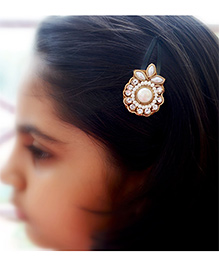 Pretty Ponytails Ethnic Pearl Zardozi Flower Hair Clip - Gold And White