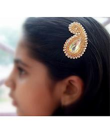 Pretty Ponytails Paisley Zardozi Flower Hair Clip - Gold