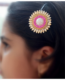 Pretty Ponytails Ethnic Beads Pearl Zardozi Flower Hair Clip Pink - Pink And Gold