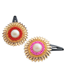 Pretty Ponytails Set Of Two Ethnic Beads Flower Hair Clip Pink - Pink, Red And Gold