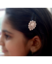 Pretty Ponytails Ethnic Mirror Zardozi Hair Clip - Gold