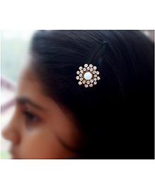 Pretty Ponytails Ethnic Mirror Zardozi Starburst Hair Clip - Gold