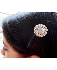 Pretty Ponytails Ethnic Mirror Zardozi Flower Hair Clip - Gold