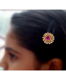 Pretty Ponytails Ethnic Floral Hair Clip - Gold & Pink