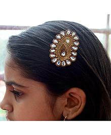Pretty Ponytails Ethnic Paisley Zardozi Hair Clip - Gold