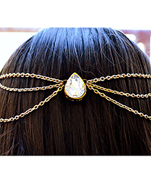 Pretty Ponytails Ethnic Kundan Gold Hair Chain - Gold