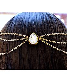 Pretty Ponytails Ethnic Kundan Gold Hair Chain - Gold