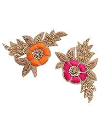 Pretty Ponytails Ethnic Zardozi Embroidered Flower Set Of 2 Hair Clip - Orange Pink Gold