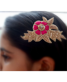 Pretty Ponytails Ethnic Zardozi Embroidered Flower Hair Clip - Gold Pink