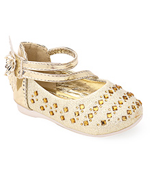Cutewalk By Babyhug Embellished Belly Shoes With Floral Applique - Golden