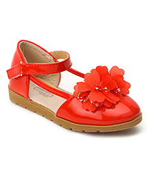 Cutewalk By Babyhug Belly Shoes With Floral Applique - Red